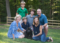 Photo of the Wasson family. Link to Life Stage Gift Planner Under Age 60 Gifts.